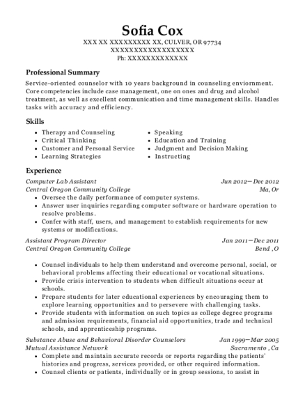 Computer Lab Assistant resume example Oregon