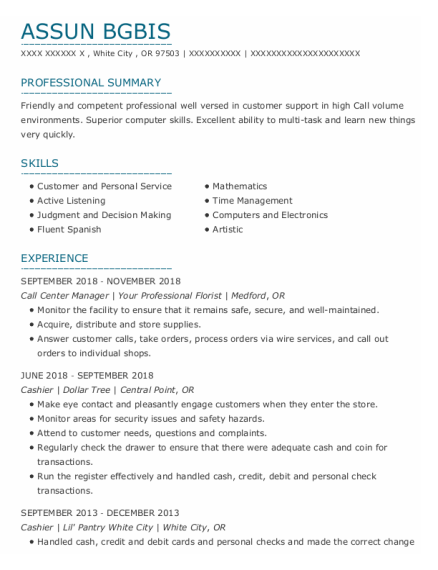 Call Center Manager resume sample Oregon