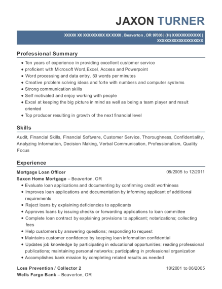 Mortgage Loan Officer resume sample Oregon