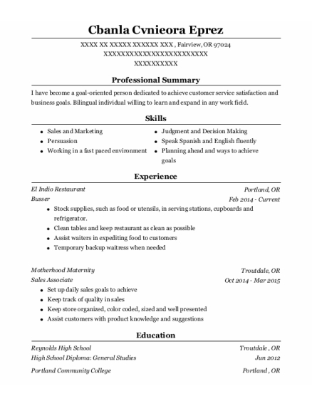 Busser resume format Oregon