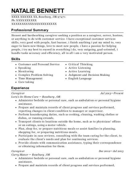 Caregiver resume example Oregon
