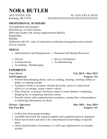 Care Giver resume sample Oregon