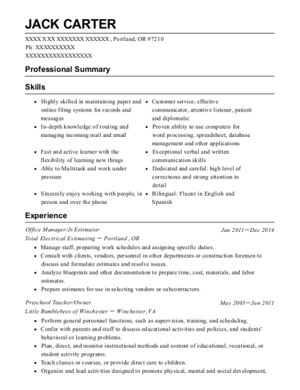 Office Manager resume template Oregon