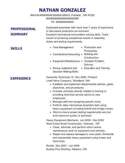 Assembly Technician III resume template Oregon