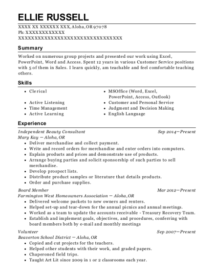 Independent Beauty Consultant resume sample Oregon