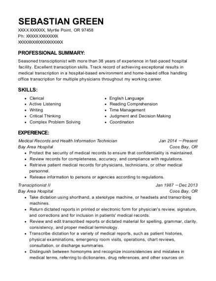 Medical Records and Health Information Technician resume format Oregon