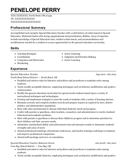 Special Education Teacher resume sample Oregon