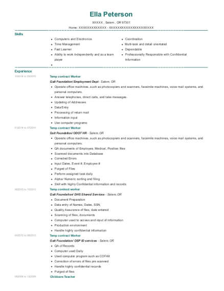 Temp contract Worker resume format Oregon