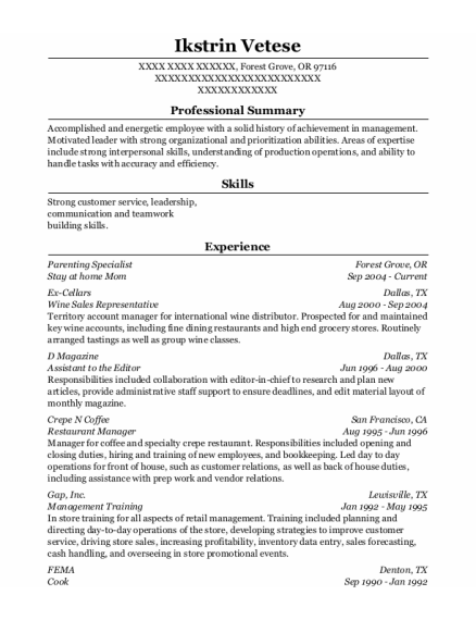 Stay At Home Mom resume format Oregon