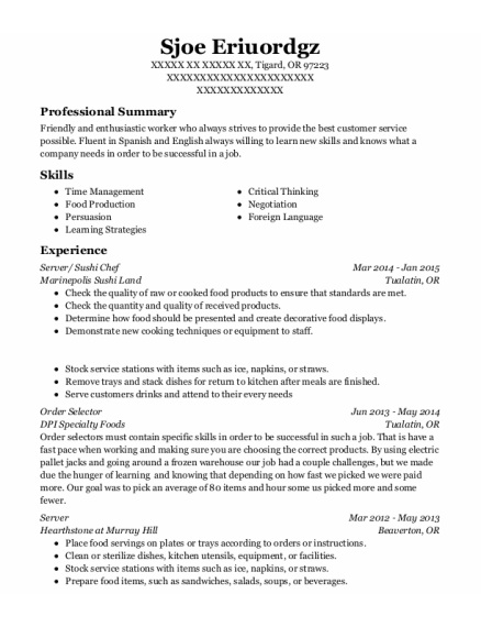 Server resume format Oregon