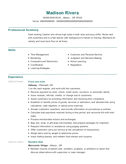 Front end clerk resume format Oregon