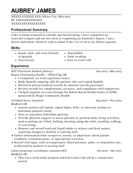 SOU Practicum Student resume example Oregon