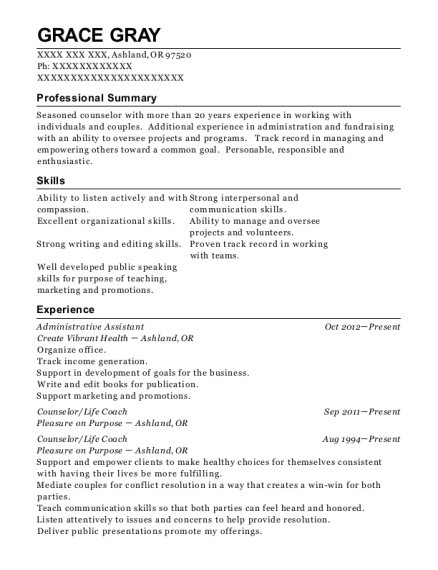 Administrative Assistant resume format Oregon