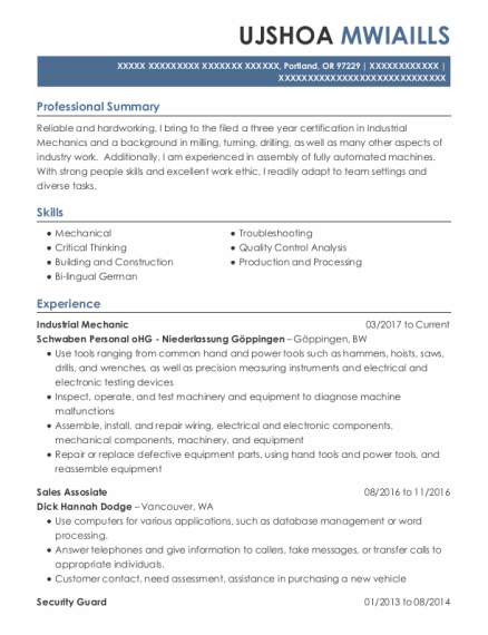 Industrial Mechanic resume format Oregon