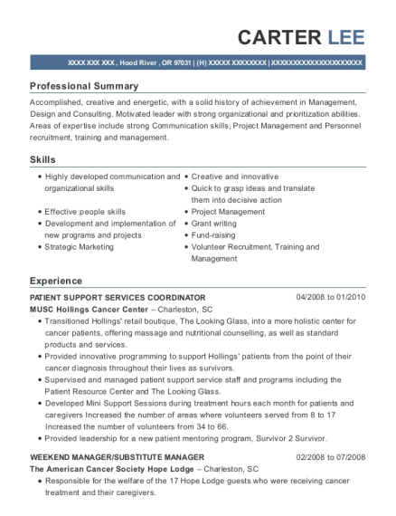 PATIENT SUPPORT SERVICES COORDINATOR resume template Oregon