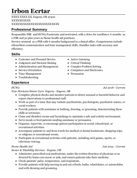 Home Health Aid resume example Oregon