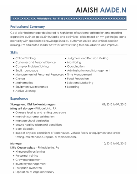 Storage and Distribution Managers resume template Pennsylvania