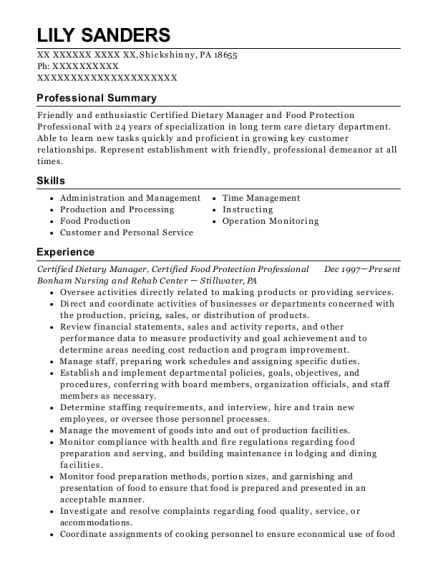 Certified Dietary Manager resume format Pennsylvania