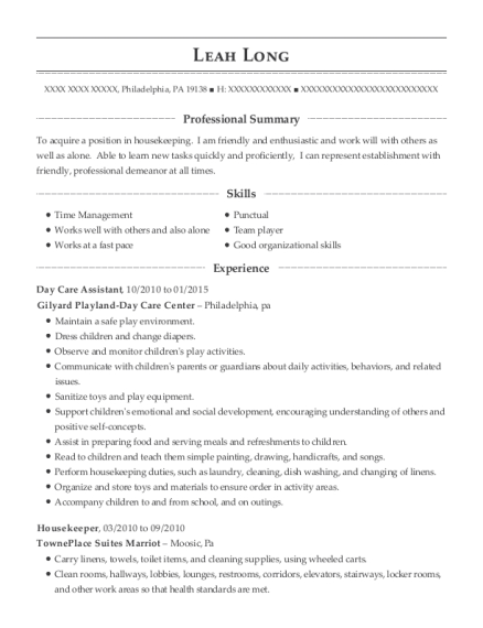 Day Care Assistant resume example Pennsylvania