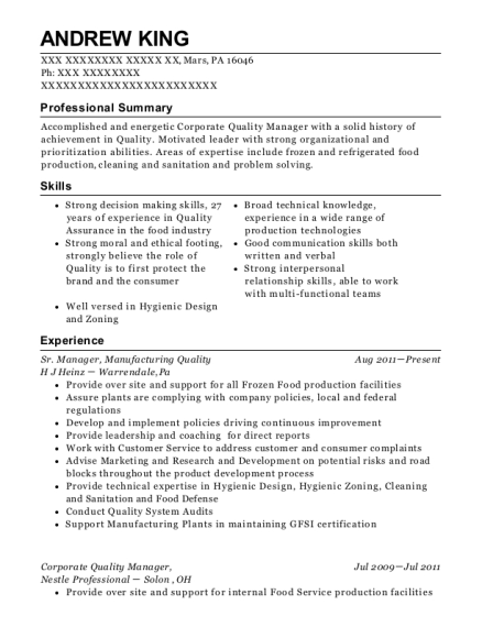Sr Manager resume format Pennsylvania