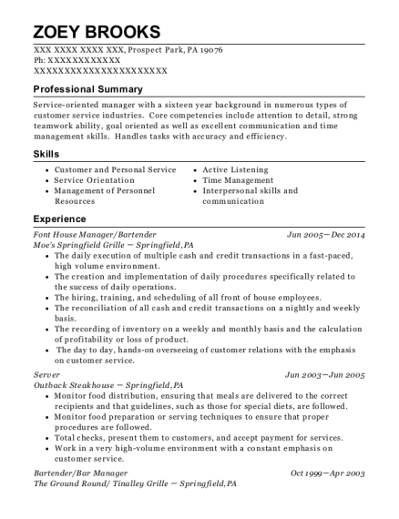 Moes Springfield Grille Font House Manager Resume Sample