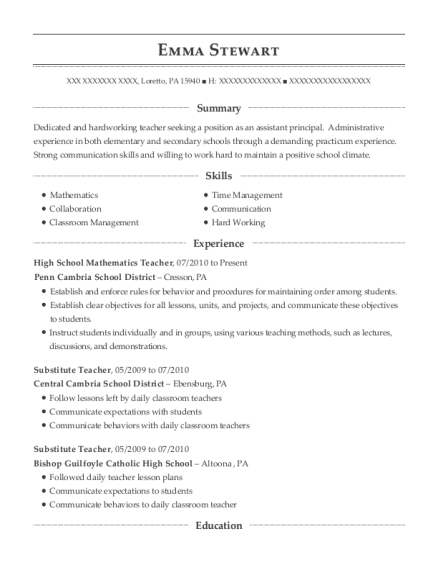 High School Mathematics Teacher resume example Pennsylvania