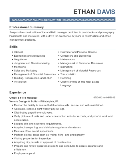 Office & Field Manager resume template Pennsylvania