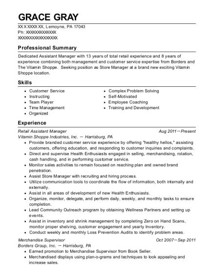 Retail Assistant Manager resume sample Pennsylvania