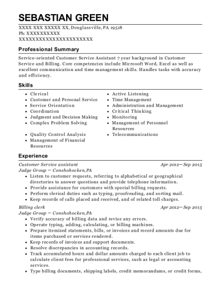 Customer Service Assistant resume template Pennsylvania