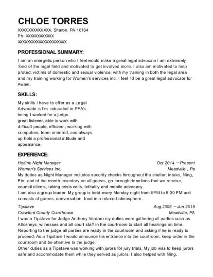 Hotline Night Manager resume example Pennsylvania