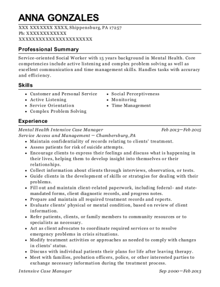 Mental Health Intensive Case Manager resume example Pennsylvania
