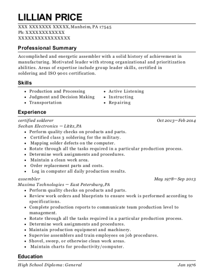 certified solderer resume sample Pennsylvania