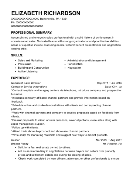Northeast Sales Director resume sample Pennsylvania