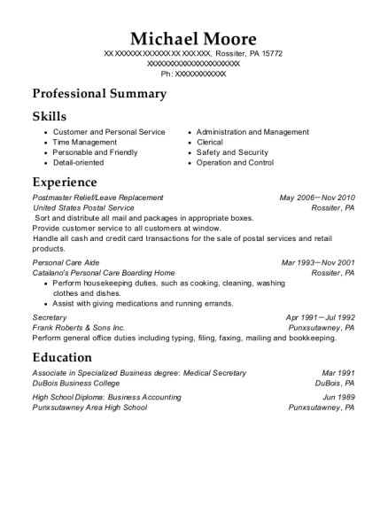 Postmaster Relief resume template Pennsylvania