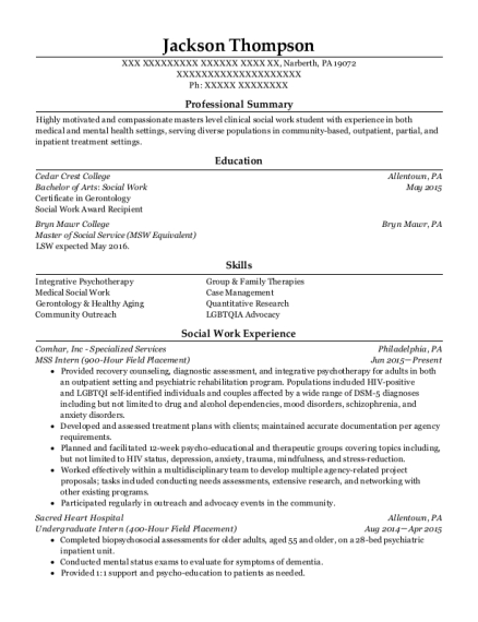 MSS Intern resume template Pennsylvania