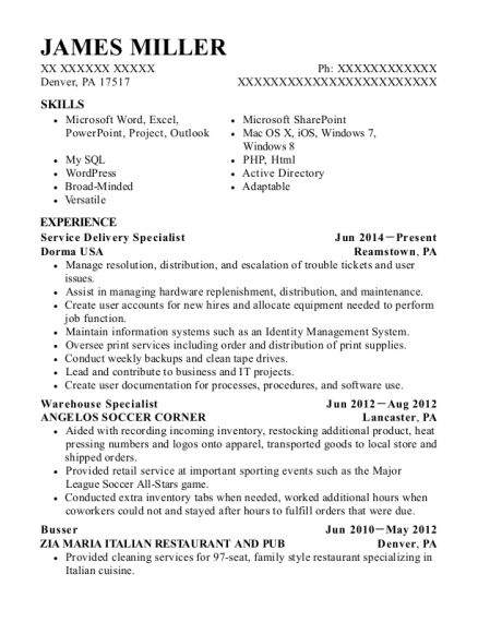 Service Delivery Specialist resume format Pennsylvania