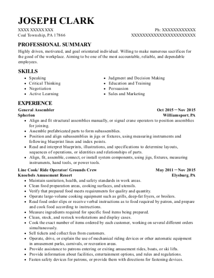 General Assembler resume template Pennsylvania