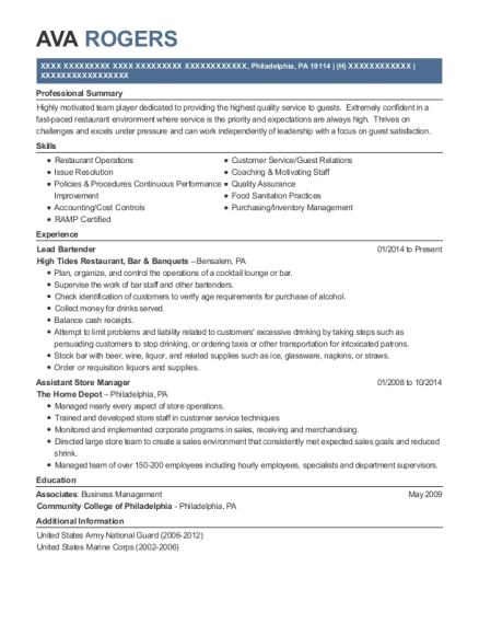Lead Bartender resume template Pennsylvania