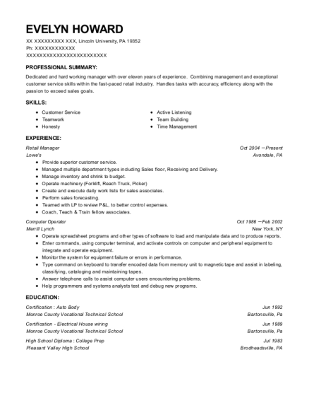 Retail Manager resume template Pennsylvania