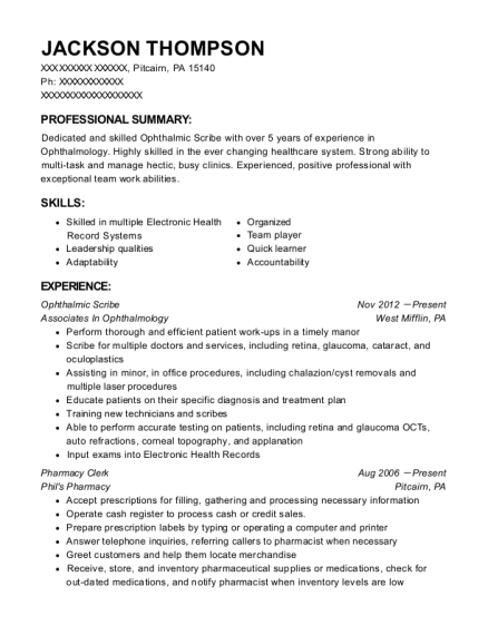 Ophthalmic Scribe resume template Pennsylvania