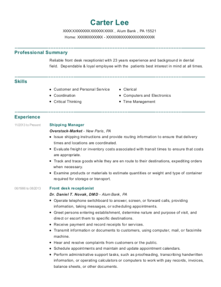 Shipping Manager resume example Pennsylvania