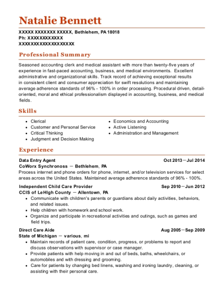 Data Entry Agent resume template Pennsylvania