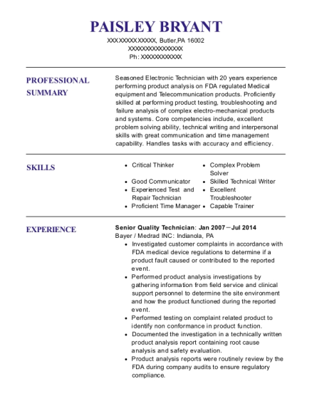 Senior Quality Technician resume format Pennsylvania