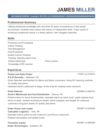 Packer and Order Picker resume format Pennsylvania