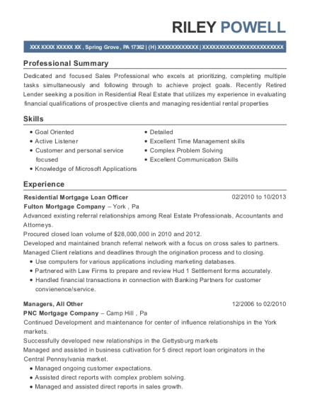 Residential Mortgage Loan Officer resume sample Pennsylvania