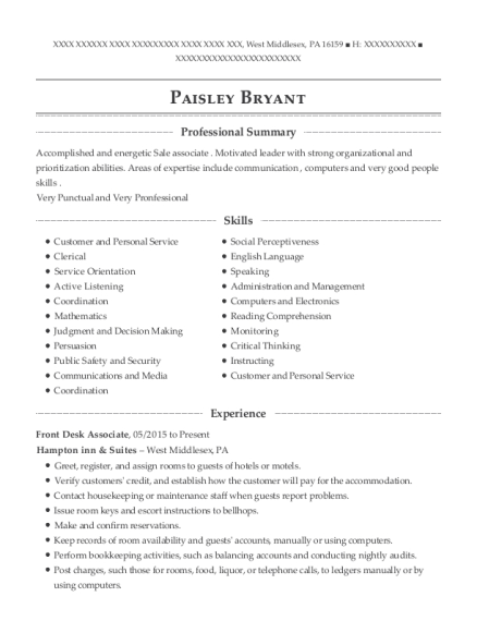 Front Desk Associate resume template Pennsylvania