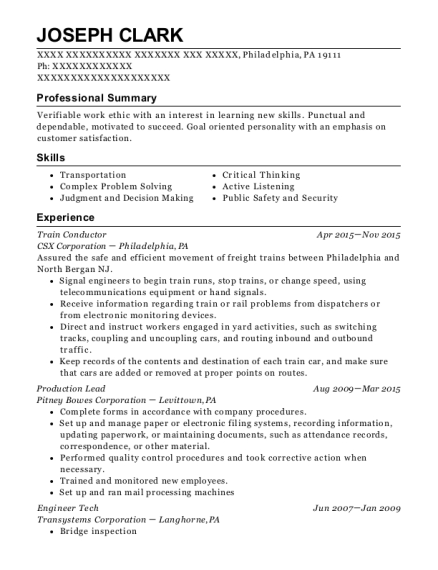 bnsf railway conductor resume sample