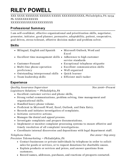 Quality Assurance Supervisor resume example Pennsylvania