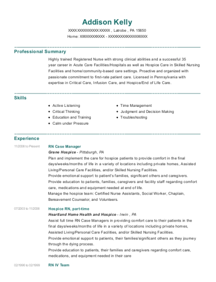 RN Case Manager resume template Pennsylvania