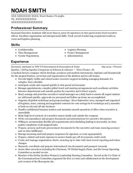 Executive Assistant to WW VP Instruments & Innovation & Team resume example Pennsylvania